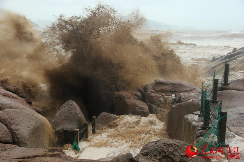 桃花岛塔湾金沙巨浪翻滚。邢学火 摄