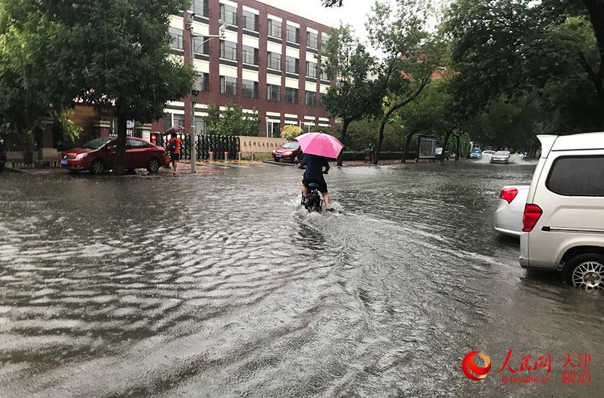 天津普降大到暴雨,市民雨中骑车上班。孙晓川/摄
