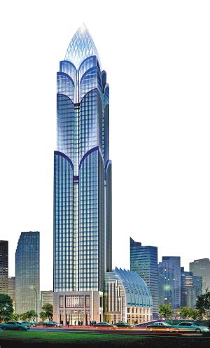 重庆解放碑最高楼开建 造型如莲花图片