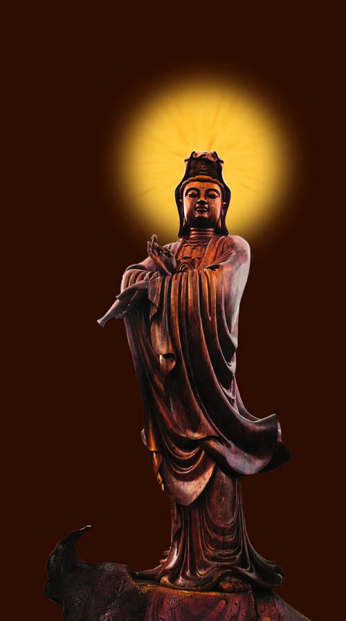 观音像由两颗千年非洲菠萝格红木大树雕刻而成,材质昂贵,工艺精湛.