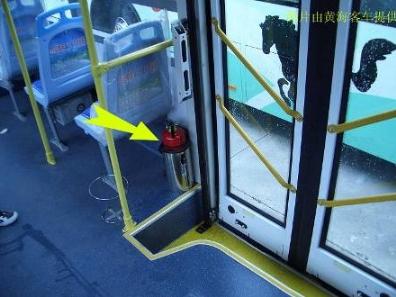 图5.1 车内灭火器布置位置-黄海客车技术人员详解公交车辆应急安全措