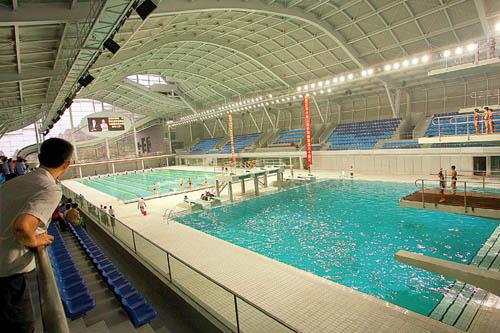 金山湖游泳跳水馆已投入使用