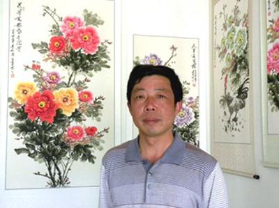 郭泰森:来自中国牡丹画第一村的著名画家图片